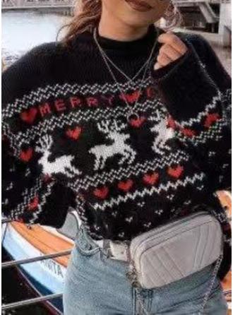 De mujer poliéster Estampado de animales Suéteres