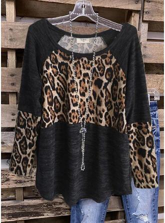 Color Block Leopard Round Neck Långa ärmar Fritids Blusar