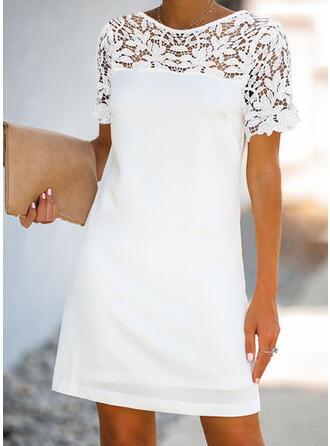 Koronka/Jednolita Krótkie rękawy Koktajlowa Nad kolana Casual/Elegancki Sukienki
