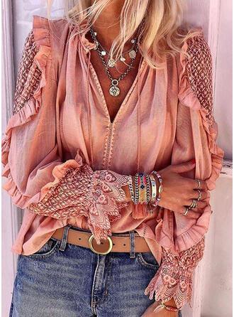 Цветочный V шеи Длинные рукова Повседневная элегантный Блузы