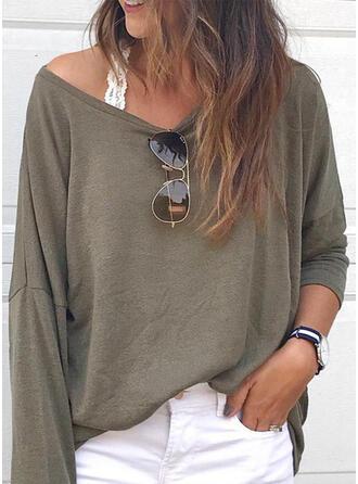 Solide V-hals Lange Mouwen Casual Basic T-shirts