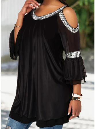 Solid Patchwork Cold Shoulder 3/4 Sleeves Casual Elegant Plus Size Plus Size Blouses