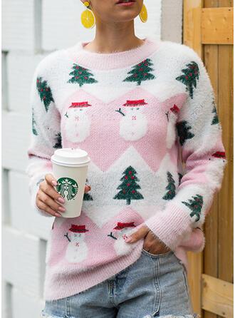 Imprimeu Bucată tricotată Guler Rotund Pulover urât de Crăciun