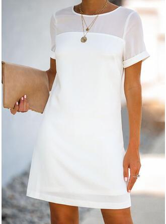 Couleur Unie Manches Courtes Droite Au-dessus Du Genou Petites Robes Noires/Décontractée/Élégante Robes