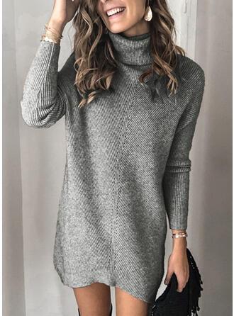 Solid Striat Bucată tricotată Helancă Rochie pulover