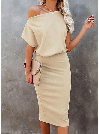Jednolita Krótkie rękawy Bodycon Długośc do kolan Elegancki Ołówkowa Sukienki