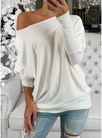 Solid Round Neck Batwing Sleeve Long Sleeves Casual T-shirts