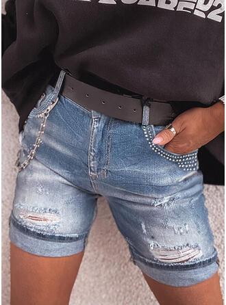 kot Diz üstü gündelik Büyük beden Pocket Yırtık Zincirler Pantolonlar Şort Kot pantolon