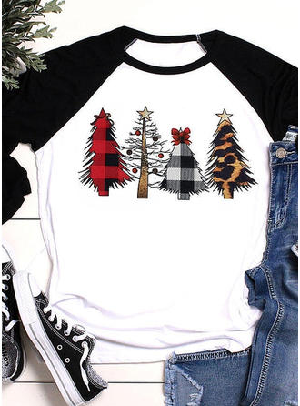 Cotton Blends Print Christmas Christmas Sweatshirt