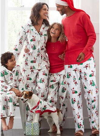 Święty Mikołaj Renifer Wydrukować Rodzinne Dopasowanie Świąteczne piżamy