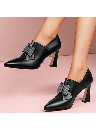 Mulheres PU Salto de gatinha Bombas Low Top com Strass Bowknot Cor sólida sapatos
