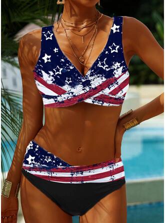 Strap V-Neck Plus Size Bikinis Swimsuits