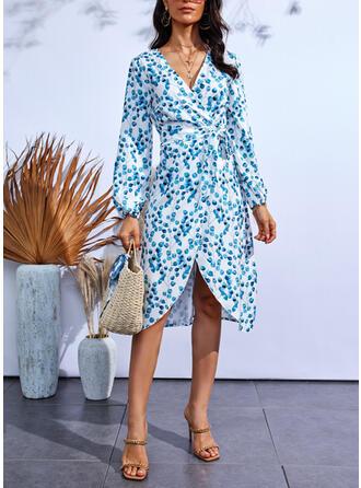 Imprimeu Mâneci Lungi Manşon Până la Genunchi gündelik Elbiseler