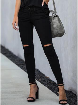 Solid Ripped Elegant Skinny Denim & Jeans
