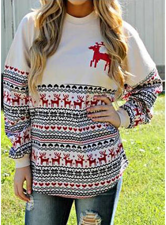Print Graphic Round Neck Casual Loose Christmas Sweaters