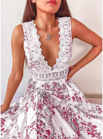 Koronka/Nadrukowana/Kwiatowy Bez rękawów W kształcie litery A Łyżwiaż Seksowna/Przyjęcie Maxi Sukienki