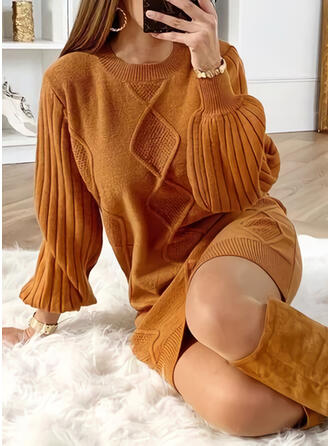 Solid Long Sleeves/Lantern Sleeve Shift Above Knee Little Black/Casual Sweater Dresses