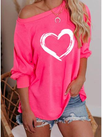 Wydrukować Serce One Shoulder Długie rękawy Bluza