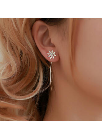Simple Alloy With Tassels Flowers Earrings (Set of 2)