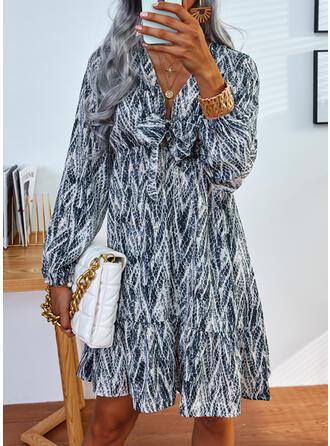Imprimeu Mâneci Lungi Bir Çizgi Deasupra Genunchiului gündelik Patenci Elbiseler