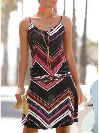Print Sleeveless Sheath Above Knee Casual Slip Dresses
