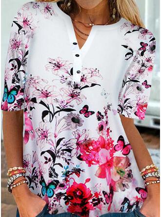 Floral Print Animal V-Neck 1/2 Sleeves T-shirts