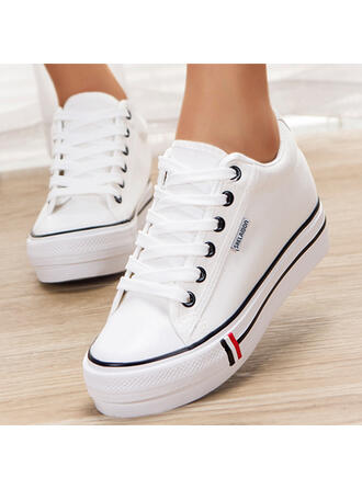 Women's Canvas Flat Heel Flats Low Top Round Toe Espadrille With Lace-up Solid Color shoes