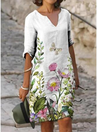 Nadrukowana/Kwiatowy Rękawy 1/2 Koktajlowa Długośc do kolan Casual Tunika Sukienki