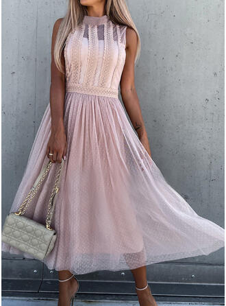 Sólido Renda Sem mangas Vestido linha-A Skatista Elegante Midi Vestidos