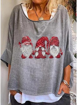 Impresión Cuello redondo Mangas 3/4 Casual Navidad Blusas