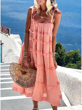 Solid Sleeveless Shift Slip Casual/Vacation Midi Dresses