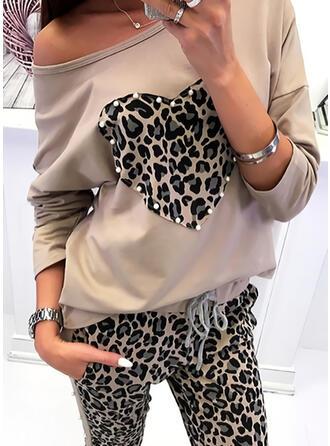 baskı leopárd Yuvarlak Yaka Uzun kollu Günlük Pólók