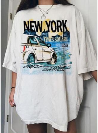 Figura Nadruk Okrągły dekolt Rękawy 3/4 T-shirty