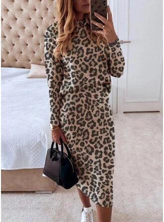 Leopard Lange ermer Bodycon Penn Elegant Midi Kjoler