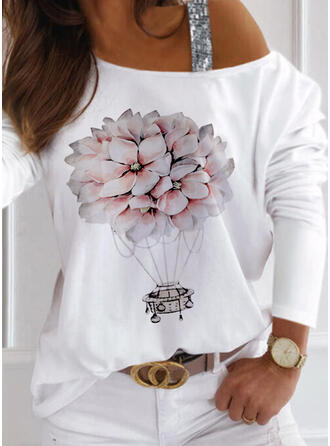 Floral Imprimeu Payetler Un Umăr Mâneci Lungi Tişörtler