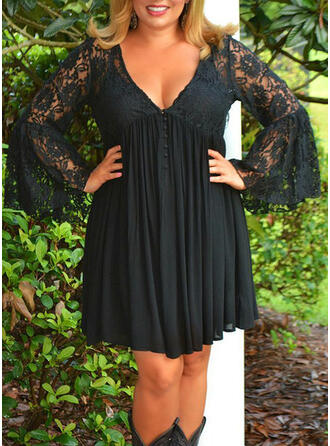 Plus Size Lace Solid Flare Sleeve Long Sleeves Sheath Above Knee Elegant Little Black Dress