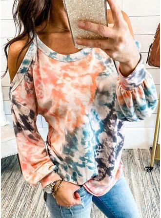 Tie Dye Cold Shoulder Lange Mouwen Casual Overhemd