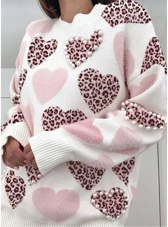 Leopardo Com pedraria Coração Gola Redonda Casual Suéteres