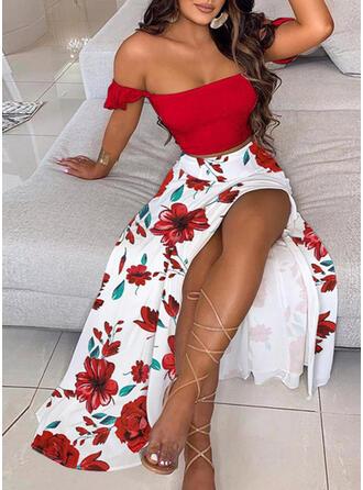 Nadrukowana/Kwiatowy Krótkie rękawy W kształcie litery A Łyżwiaż Seksowna/Casual Maxi Sukienki