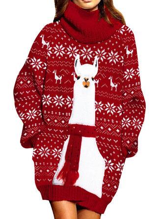 アニマルプリント タートルネック カジュアル ロング クリスマスドレス セータードレス