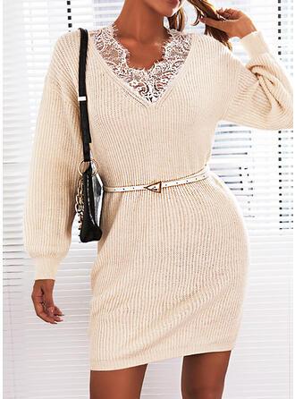 Solid Dantel Mâneci Lungi gündelik Elbiseler
