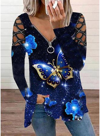 Imprimeu kelebek Soğuk omuz Mâneci Lungi Tişörtler