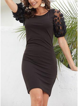 Jednolita Krótkie rękawy Bodycon Nad kolana Mała czarna/Elegancki Sukienki