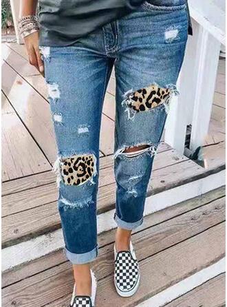 Leopardo Tribal Algodão Grandes Casual férias Tamanho positivo Bolso rasgado Calças Jeans