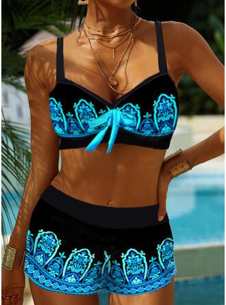 Цвет соединения Ремень V шеи Большой размер Boho Bikinis купальников