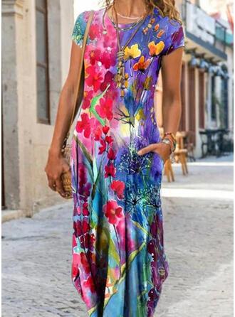 Print/Floral Short Sleeves Cap Sleeve Shift Casual Maxi Dresses