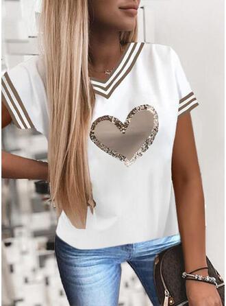 Coração Estampado lantejoulas Listra Decote em V Manga Curta Camisetas