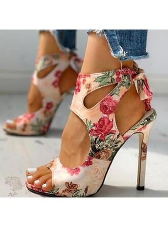 PU Toc Stiletto Sandale Încălţăminte cu Toc Înalt Puţin decupat în faţă Cu vârful cu De la gât înafară Floare Splice Color pantofi