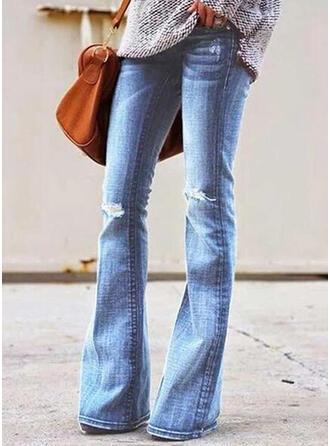 Разорванный Повседневная Долго джинсы Штаны