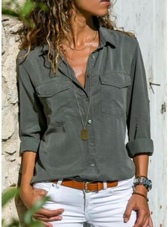 Solid Lapel Long Sleeves Button Up Casual Shirt Blouses